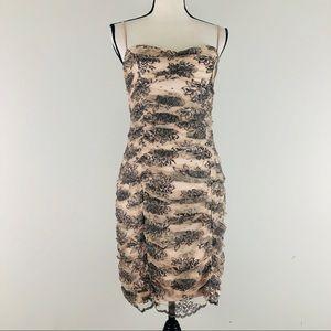 Betsey Johnson Ruched  Lace Mesh Mini Dress